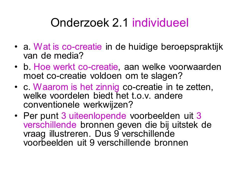 Onderzoek 2.1 individueel a. Wat is co-creatie in de huidige beroepspraktijk van de media.