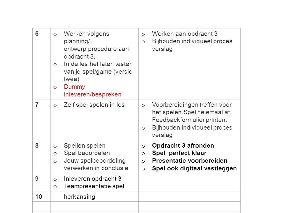 6 o Werken volgens planning/ ontwerp procedure aan opdracht 3. o In de les het laten testen van je spel/game (versie twee) o Dummy inleveren/bespreken
