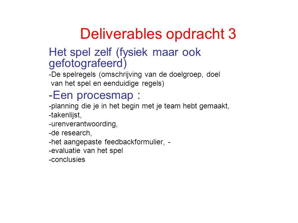 Deliverables opdracht 3 Het spel zelf (fysiek maar ook gefotografeerd) -De spelregels (omschrijving van de doelgroep, doel van het spel en eenduidige regels) -Een procesmap : -planning die je in het begin met je team hebt gemaakt, -takenlijst, -urenverantwoording, -de research, -het aangepaste feedbackformulier, - -evaluatie van het spel -conclusies