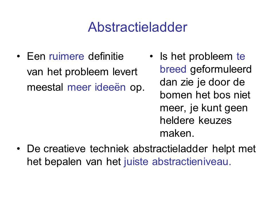 Abstractieladder Een ruimere definitie van het probleem levert meestal meer ideeën op. De creatieve techniek abstractieladder helpt met het bepalen va