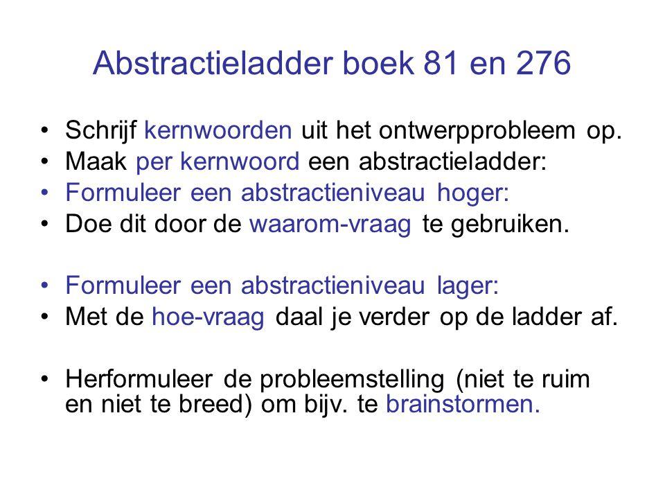 Abstractieladder boek 81 en 276 Schrijf kernwoorden uit het ontwerpprobleem op. Maak per kernwoord een abstractieladder: Formuleer een abstractienivea