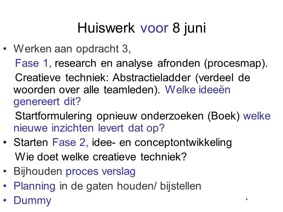 Huiswerk voor 8 juni Werken aan opdracht 3, Fase 1, research en analyse afronden (procesmap). Creatieve techniek: Abstractieladder (verdeel de woorden