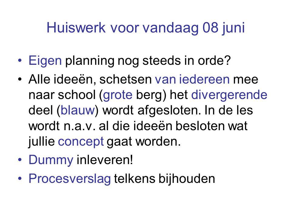 Huiswerk voor vandaag 08 juni Eigen planning nog steeds in orde? Alle ideeën, schetsen van iedereen mee naar school (grote berg) het divergerende deel