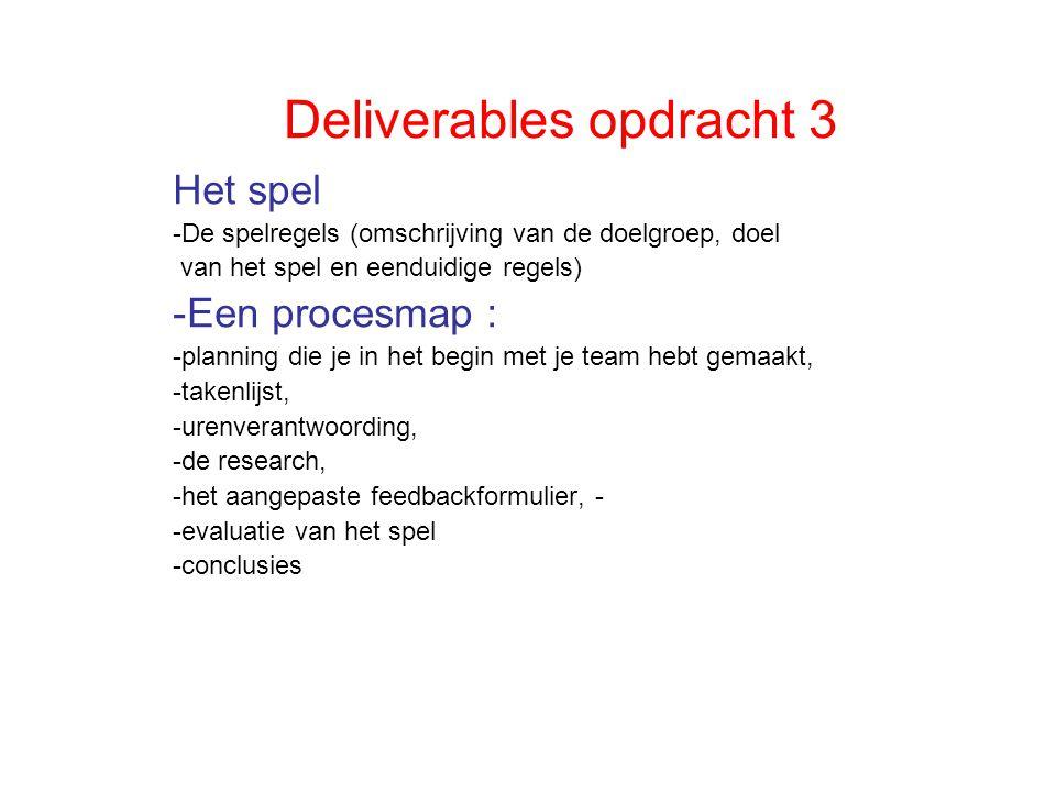 Deliverables opdracht 3 Het spel -De spelregels (omschrijving van de doelgroep, doel van het spel en eenduidige regels) -Een procesmap : -planning die je in het begin met je team hebt gemaakt, -takenlijst, -urenverantwoording, -de research, -het aangepaste feedbackformulier, - -evaluatie van het spel -conclusies
