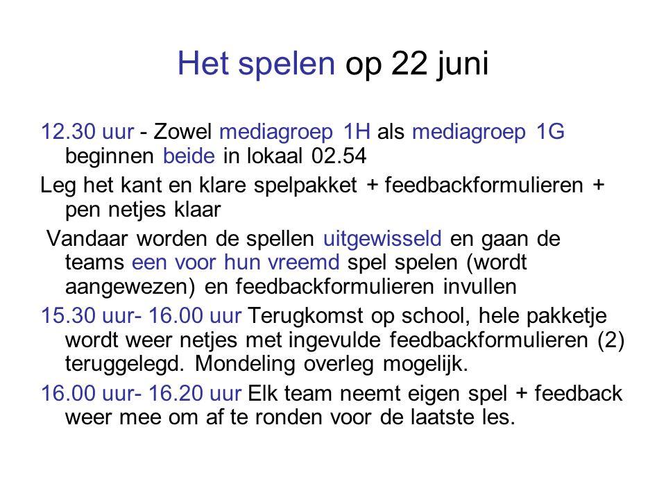 Het spelen op 22 juni 12.30 uur - Zowel mediagroep 1H als mediagroep 1G beginnen beide in lokaal 02.54 Leg het kant en klare spelpakket + feedbackformulieren + pen netjes klaar Vandaar worden de spellen uitgewisseld en gaan de teams een voor hun vreemd spel spelen (wordt aangewezen) en feedbackformulieren invullen 15.30 uur- 16.00 uur Terugkomst op school, hele pakketje wordt weer netjes met ingevulde feedbackformulieren (2) teruggelegd.