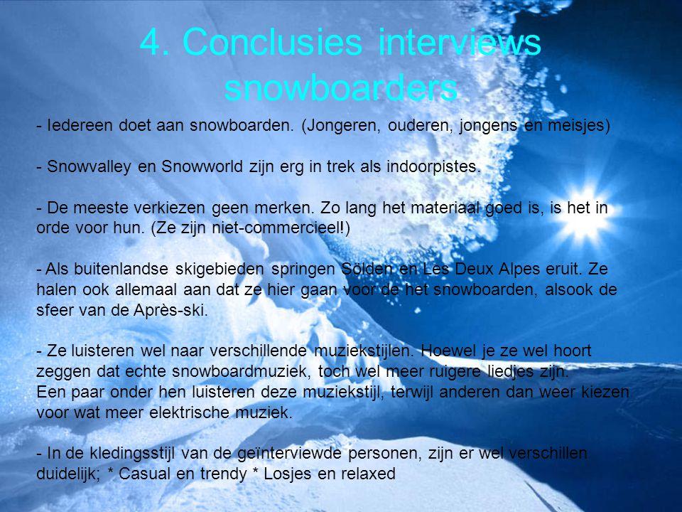4. Conclusies interviews snowboarders - Iedereen doet aan snowboarden. (Jongeren, ouderen, jongens en meisjes) - Snowvalley en Snowworld zijn erg in t