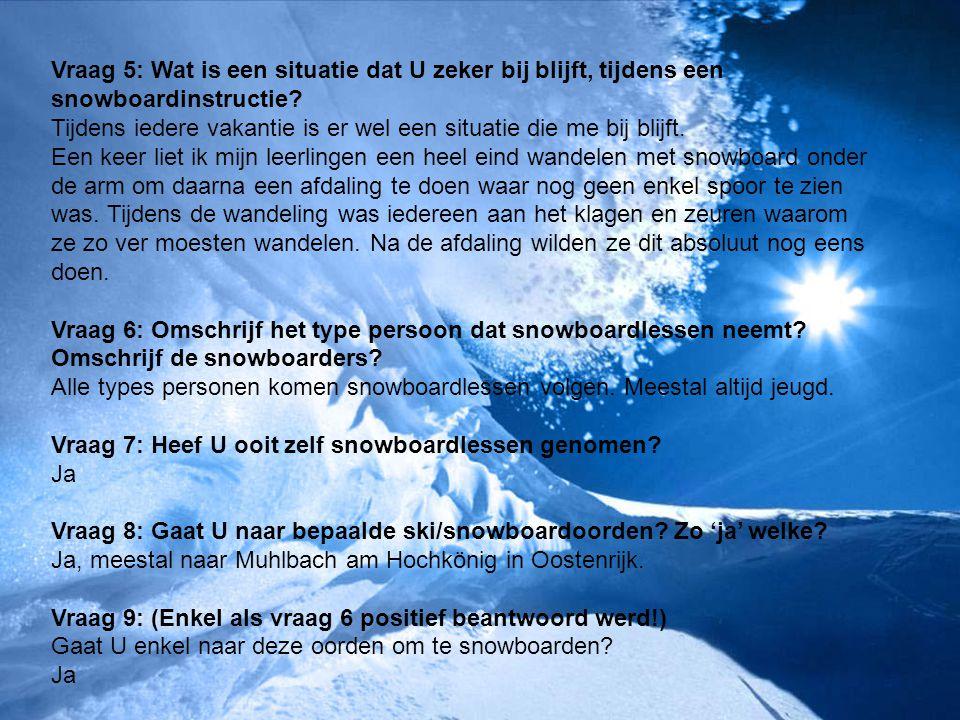 Vraag 5: Wat is een situatie dat U zeker bij blijft, tijdens een snowboardinstructie? Tijdens iedere vakantie is er wel een situatie die me bij blijft
