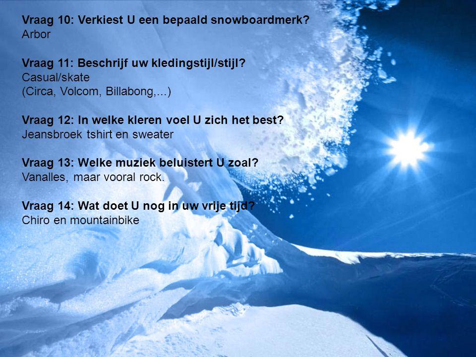Vraag 10: Verkiest U een bepaald snowboardmerk? Arbor Vraag 11: Beschrijf uw kledingstijl/stijl? Casual/skate (Circa, Volcom, Billabong,...) Vraag 12: