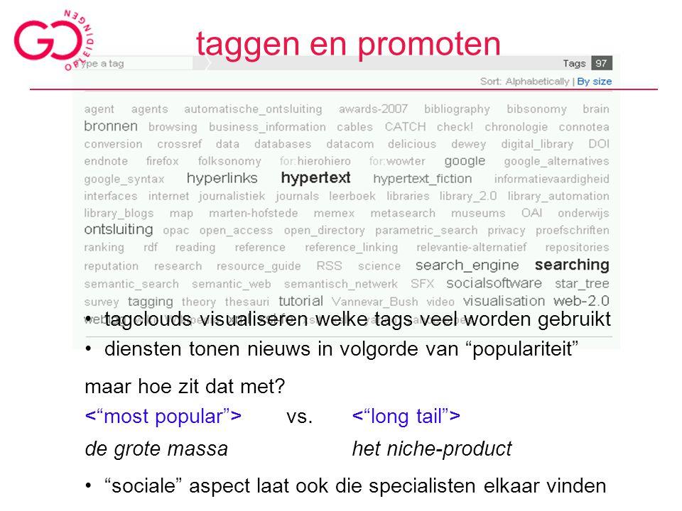 """taggen en promoten tagclouds visualiseren welke tags veel worden gebruikt diensten tonen nieuws in volgorde van """"populariteit"""" maar hoe zit dat met? v"""