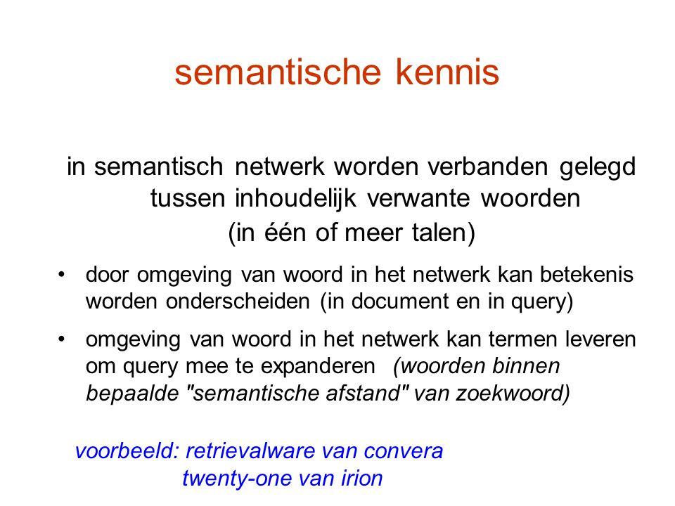semantische kennis voorbeeld: retrievalware van convera twenty-one van irion in semantisch netwerk worden verbanden gelegd tussen inhoudelijk verwante