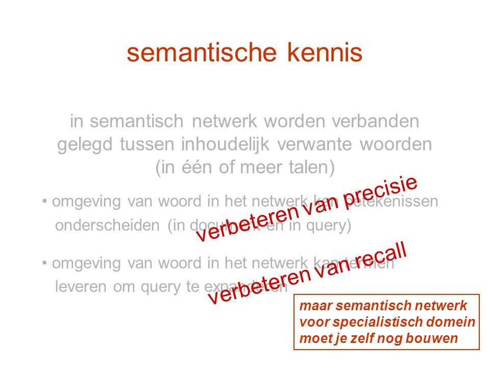 semantische kennis in semantisch netwerk worden verbanden gelegd tussen inhoudelijk verwante woorden (in één of meer talen) omgeving van woord in het