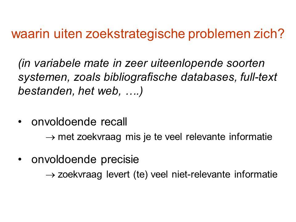 waarin uiten zoekstrategische problemen zich? (in variabele mate in zeer uiteenlopende soorten systemen, zoals bibliografische databases, full-text be