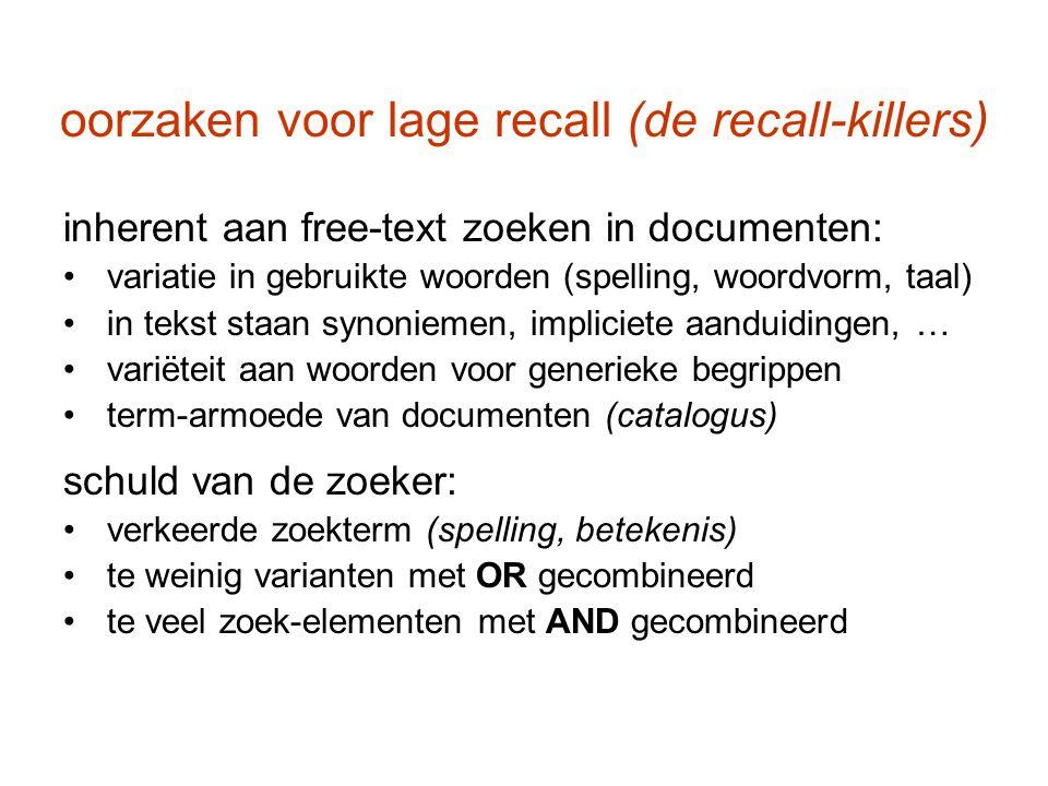 oorzaken voor lage recall (de recall-killers) inherent aan free-text zoeken in documenten: variatie in gebruikte woorden (spelling, woordvorm, taal) i