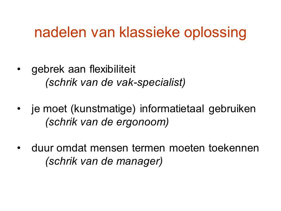 nadelen van klassieke oplossing gebrek aan flexibiliteit (schrik van de vak-specialist) je moet (kunstmatige) informatietaal gebruiken (schrik van de