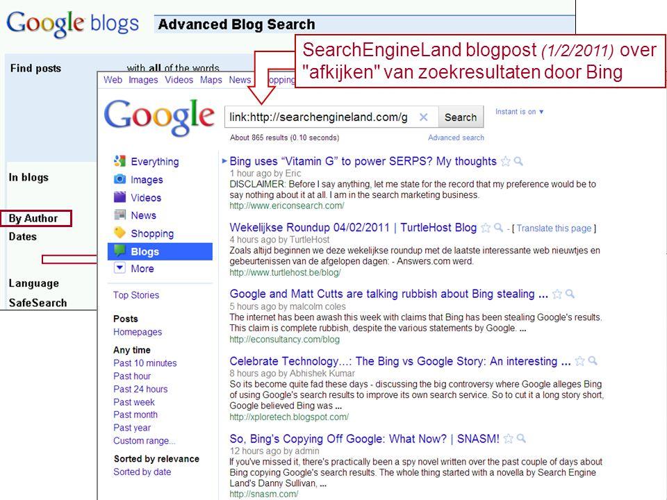 SearchEngineLand blogpost (1/2/2011) over afkijken van zoekresultaten door Bing