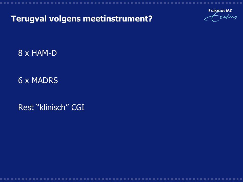 "Terugval volgens meetinstrument?  8 x HAM-D  6 x MADRS  Rest ""klinisch"" CGI"