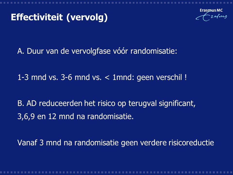 Effectiviteit (vervolg)  A. Duur van de vervolgfase vóór randomisatie:  1-3 mnd vs. 3-6 mnd vs. < 1mnd: geen verschil !  B. AD reduceerden het risi