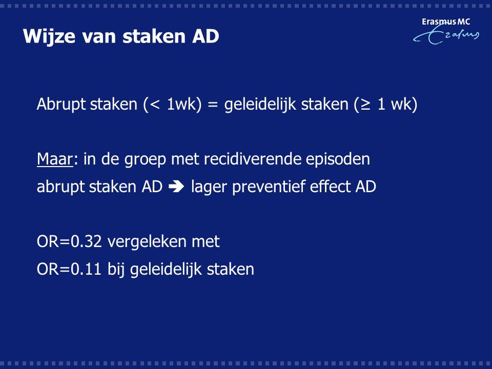 Wijze van staken AD  Abrupt staken (< 1wk) = geleidelijk staken (≥ 1 wk)  Maar: in de groep met recidiverende episoden  abrupt staken AD  lager preventief effect AD  OR=0.32 vergeleken met  OR=0.11 bij geleidelijk staken