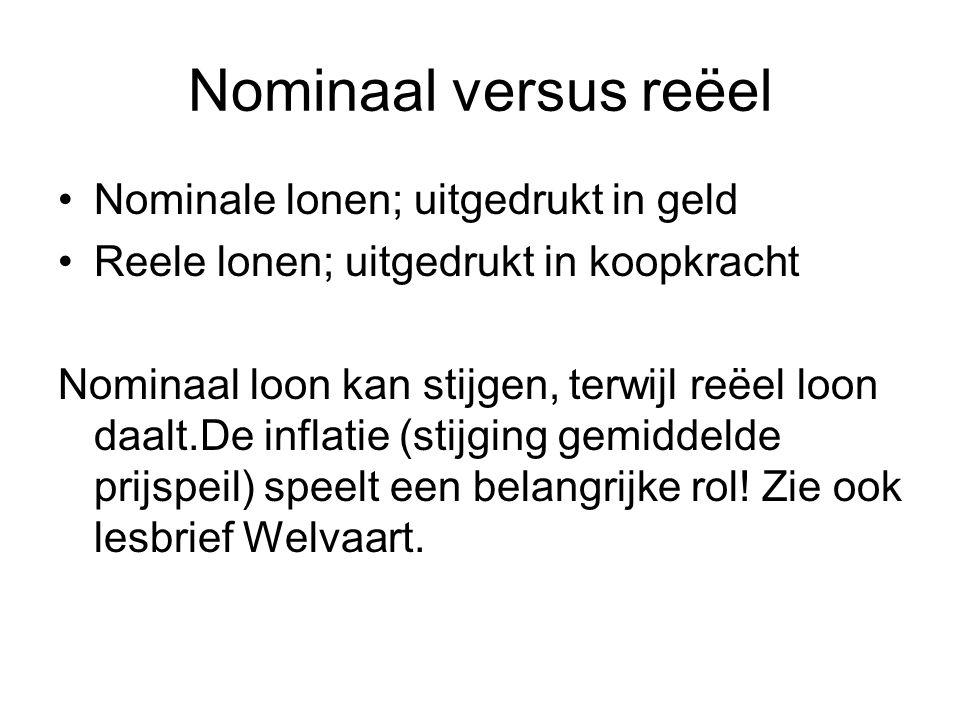 Nominaal versus reëel Nominale lonen; uitgedrukt in geld Reele lonen; uitgedrukt in koopkracht Nominaal loon kan stijgen, terwijl reëel loon daalt.De