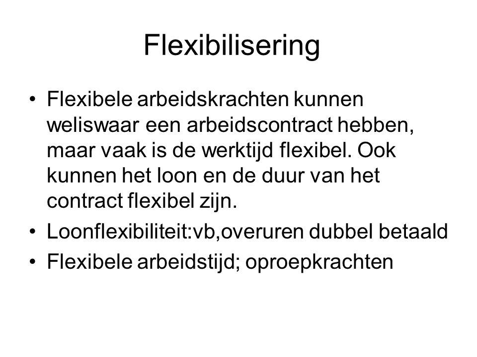 Flexibilisering Flexibele arbeidskrachten kunnen weliswaar een arbeidscontract hebben, maar vaak is de werktijd flexibel.