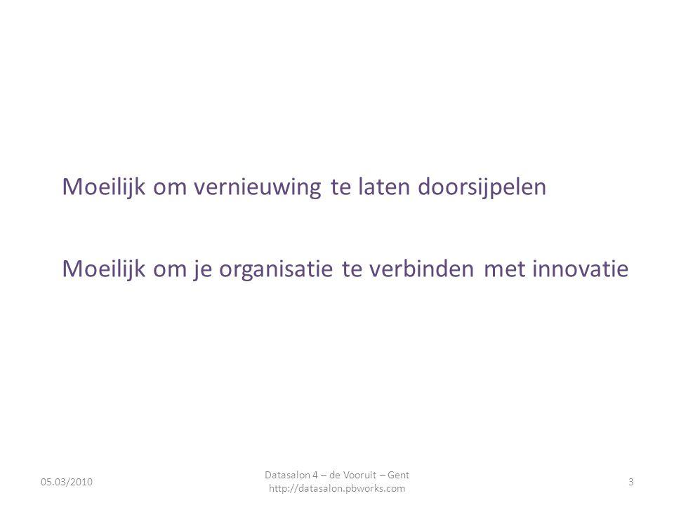 Moeilijk om vernieuwing te laten doorsijpelen Moeilijk om je organisatie te verbinden met innovatie 05.03/20103 Datasalon 4 – de Vooruit – Gent http://datasalon.pbworks.com