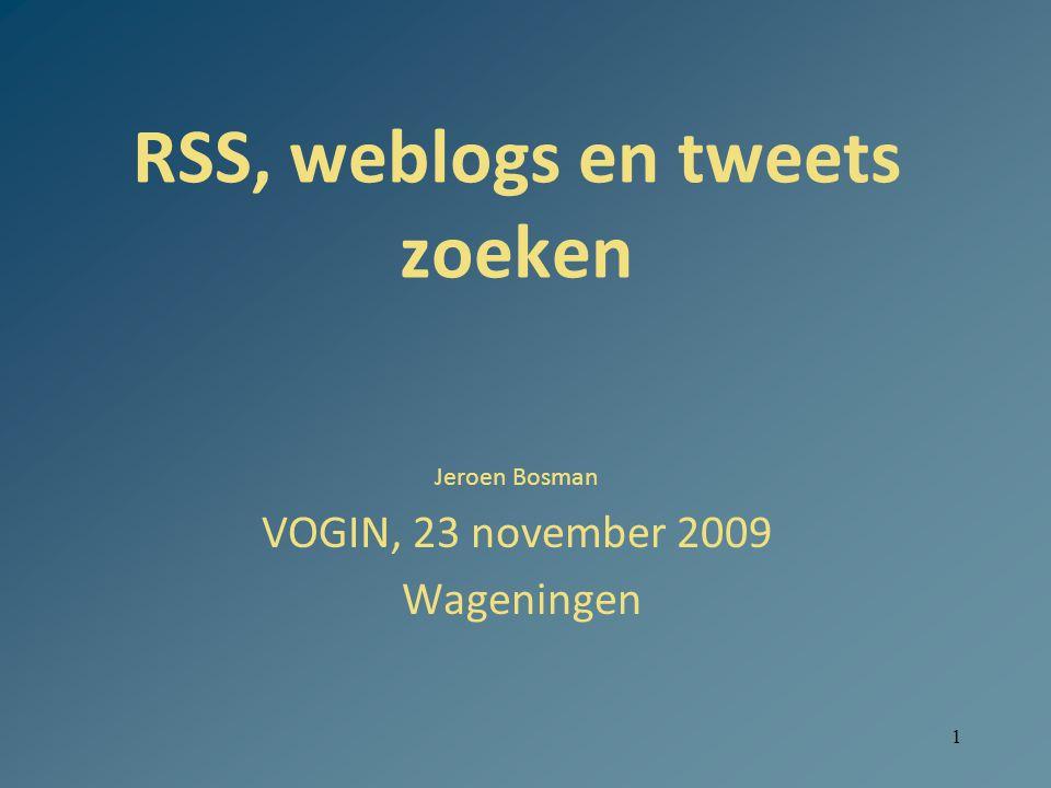 2 RSS Rich Site Summary / Really Simple Syndication Voor sites met (on)regelmatig nieuwe actuele inhoud, bv nieuwsbrieven, weblogs Lezen, beheren als ware het email Maakt gebruik van xml-structuur Vereist software (reader), bv Feedreader (gratis) of Feeddemon of lezen in browser of een rss-reader Toevoegen van een 'feed': klik bij pagina op oranje of blauwe RSS of XML-logo of radio-button [voeg soms handmatig van die pagina de url toe aan reader] Drie nauwverwante formats: rss/atom/rdf Syndicatie gebeurt ook commercieel (bv Blogburst of RefAware) Maakt mashups mogelijk (feed integreren in site)