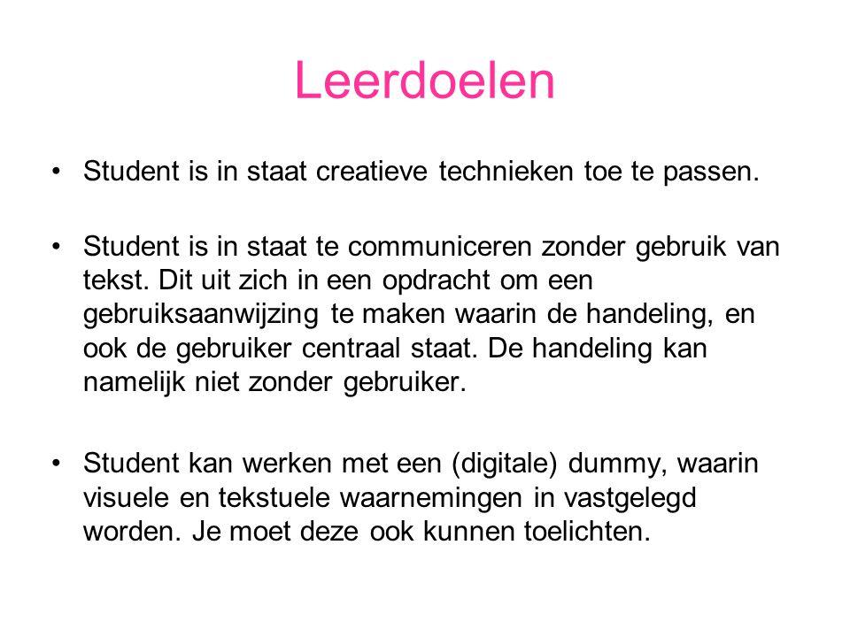 Leerdoelen Student is in staat creatieve technieken toe te passen. Student is in staat te communiceren zonder gebruik van tekst. Dit uit zich in een o
