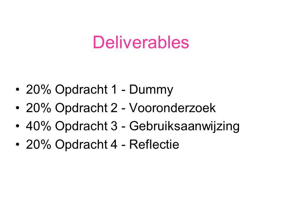 Deliverables 20% Opdracht 1 - Dummy 20% Opdracht 2 - Vooronderzoek 40% Opdracht 3 - Gebruiksaanwijzing 20% Opdracht 4 - Reflectie