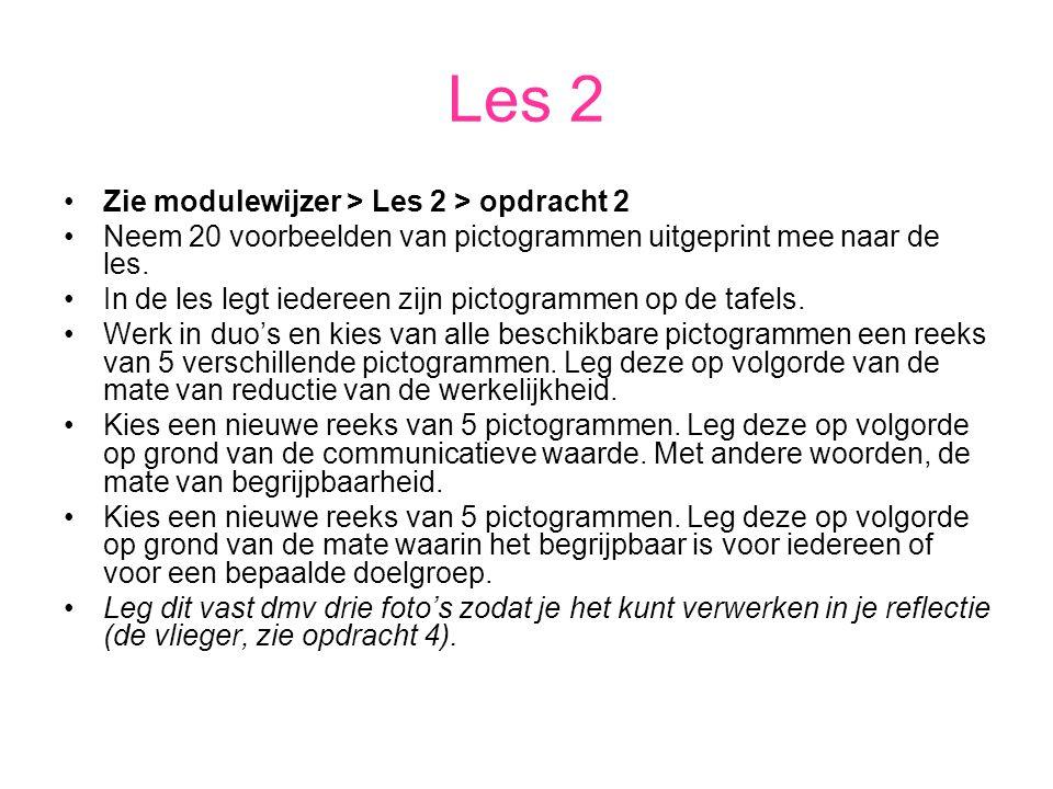 Les 2 Zie modulewijzer > Les 2 > opdracht 2 Neem 20 voorbeelden van pictogrammen uitgeprint mee naar de les. In de les legt iedereen zijn pictogrammen
