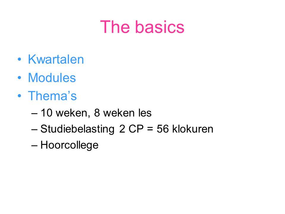 The basics Kwartalen Modules Thema's –10 weken, 8 weken les –Studiebelasting 2 CP = 56 klokuren –Hoorcollege