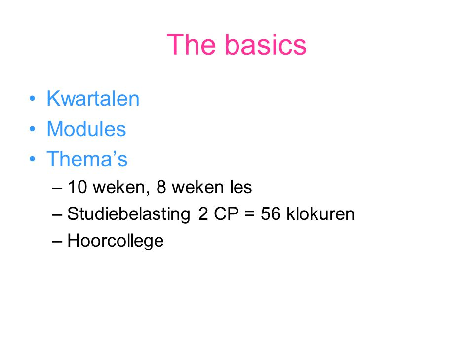 Kwartalen>modules> thema's Q1 : Creative Tools Q2 : Identity Q3 : Creative process Q4 : Game of life