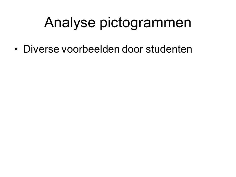 Analyse pictogrammen Diverse voorbeelden door studenten