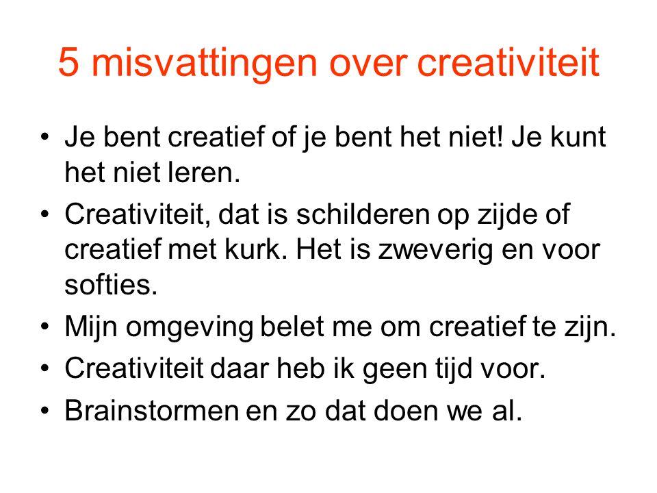 5 misvattingen over creativiteit Je bent creatief of je bent het niet! Je kunt het niet leren. Creativiteit, dat is schilderen op zijde of creatief me