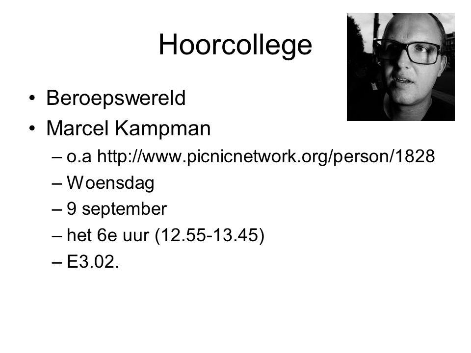 Hoorcollege Beroepswereld Marcel Kampman –o.a http://www.picnicnetwork.org/person/1828 –Woensdag –9 september –het 6e uur (12.55-13.45) –E3.02.