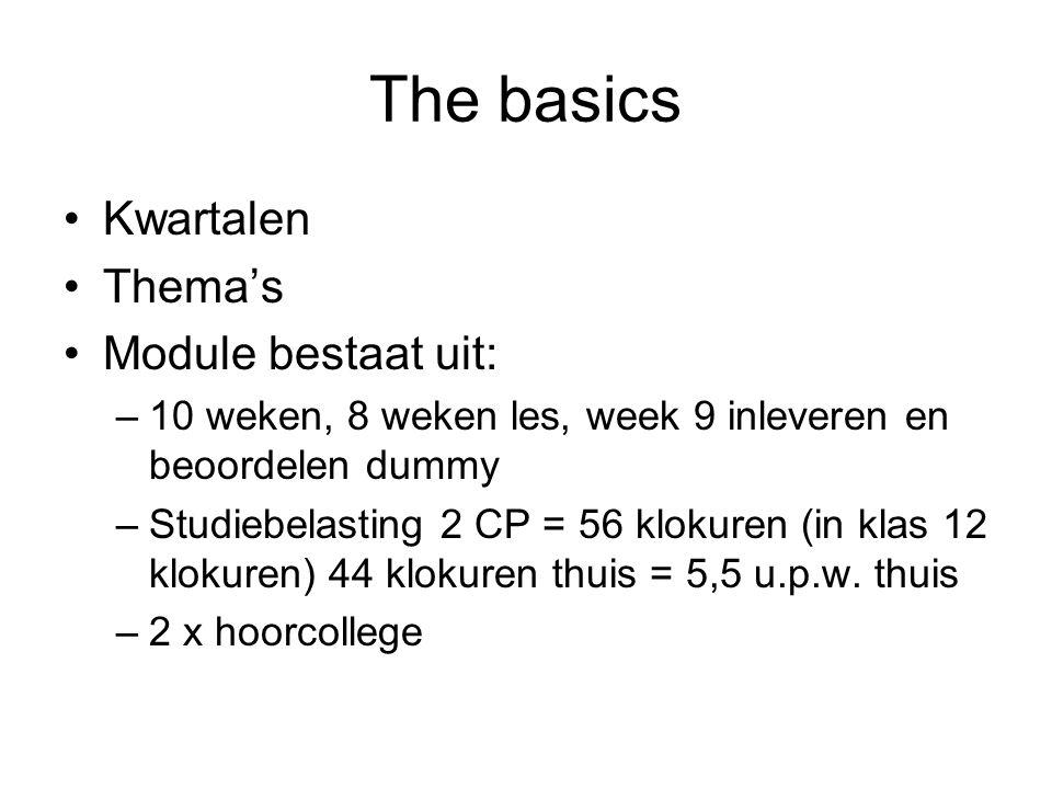 The basics Kwartalen Thema's Module bestaat uit: –10 weken, 8 weken les, week 9 inleveren en beoordelen dummy –Studiebelasting 2 CP = 56 klokuren (in klas 12 klokuren) 44 klokuren thuis = 5,5 u.p.w.