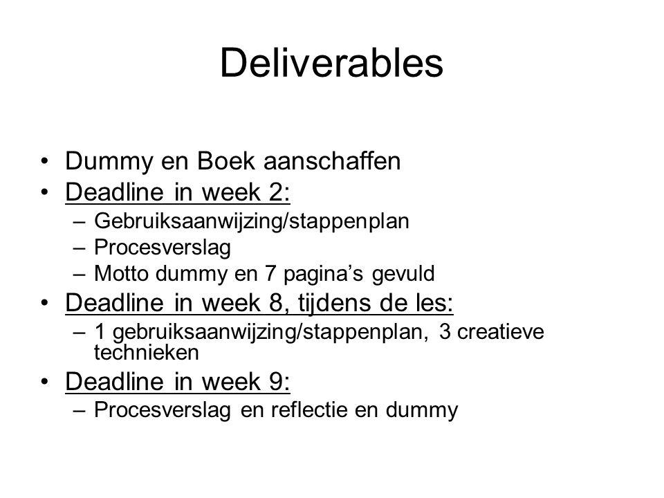 Deliverables Dummy en Boek aanschaffen Deadline in week 2: –Gebruiksaanwijzing/stappenplan –Procesverslag –Motto dummy en 7 pagina's gevuld Deadline in week 8, tijdens de les: –1 gebruiksaanwijzing/stappenplan, 3 creatieve technieken Deadline in week 9: –Procesverslag en reflectie en dummy