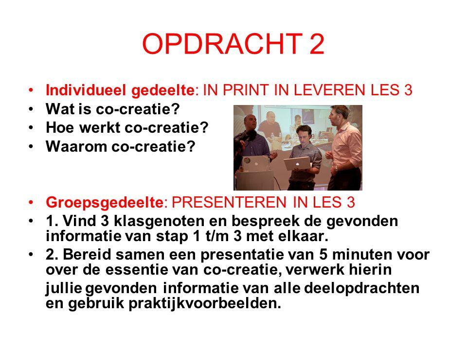 OPDRACHT 2 Individueel gedeelte: IN PRINT IN LEVEREN LES 3 Wat is co-creatie.