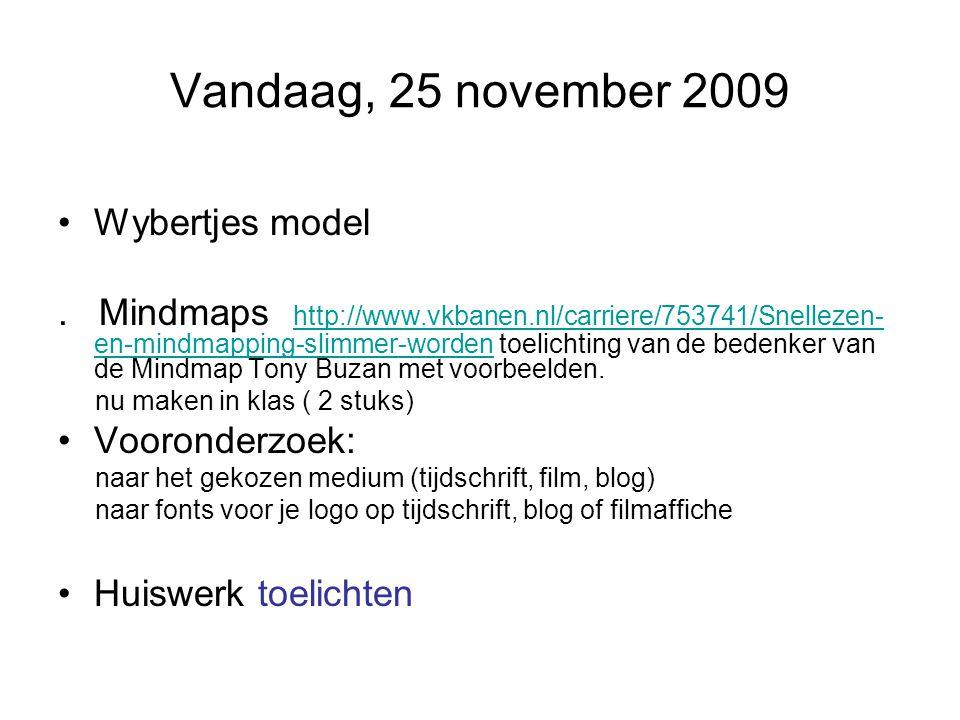 Vandaag, 25 november 2009 Wybertjes model. Mindmaps http://www.vkbanen.nl/carriere/753741/Snellezen- en-mindmapping-slimmer-worden toelichting van de