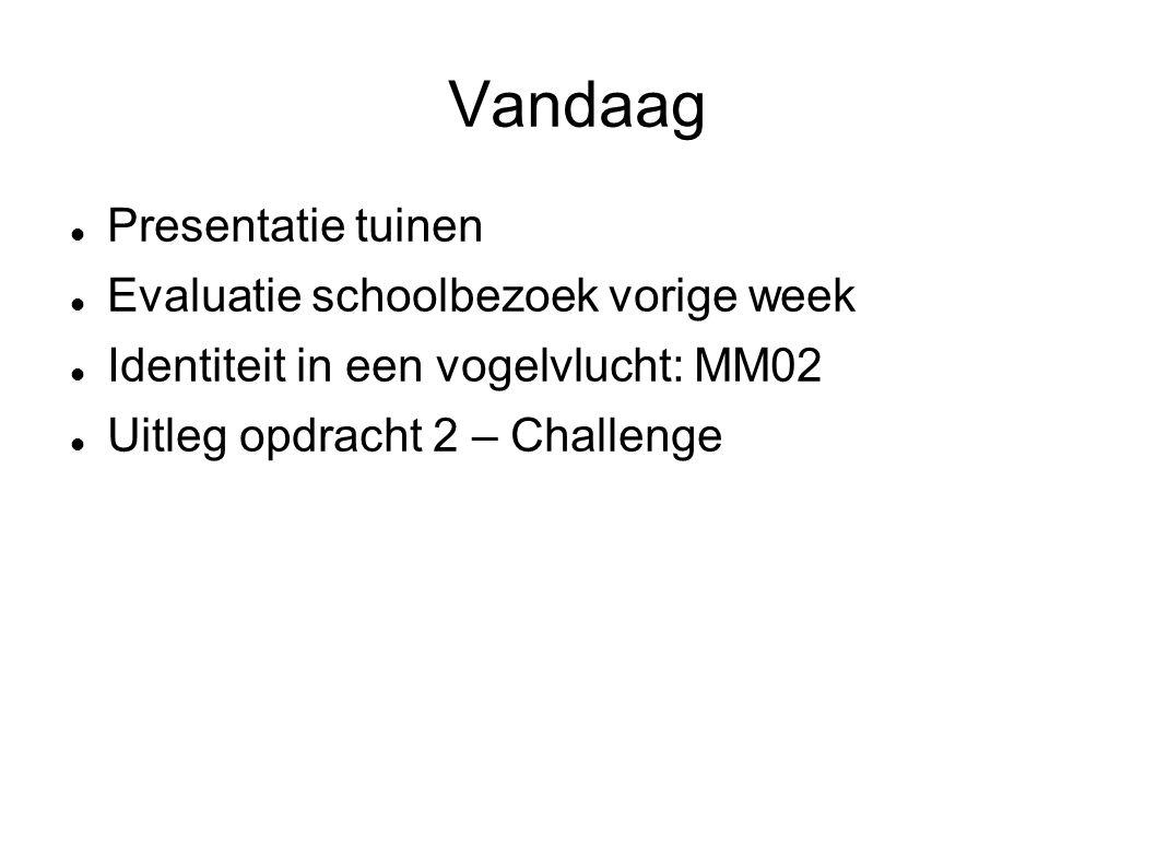 Vandaag Presentatie tuinen Evaluatie schoolbezoek vorige week Identiteit in een vogelvlucht: MM02 Uitleg opdracht 2 – Challenge
