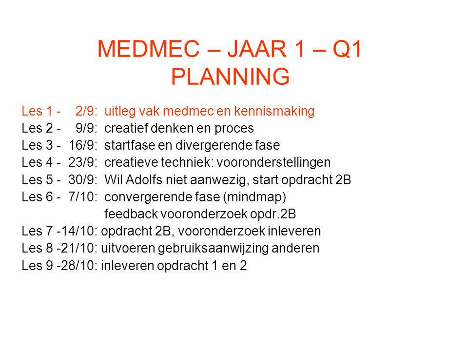 MEDMEC - Q1- LES 2 - Inleveren opdracht 2A (nulmeting) - Zijn er vragen over de modulewijzer.