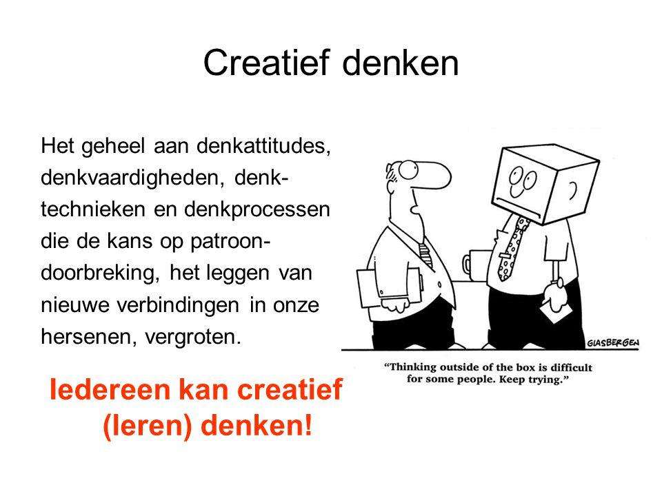 Creatief denken Creatieve basisvaardigheden: Je past ze al bewust of onbewust toe -Creatief waarnemen -Uitstel van oordeel -Divergeren -Flexibel associëren -Verbeeldingskracht ontwikkelen