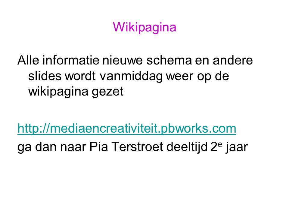 Wikipagina Alle informatie nieuwe schema en andere slides wordt vanmiddag weer op de wikipagina gezet http://mediaencreativiteit.pbworks.com ga dan na