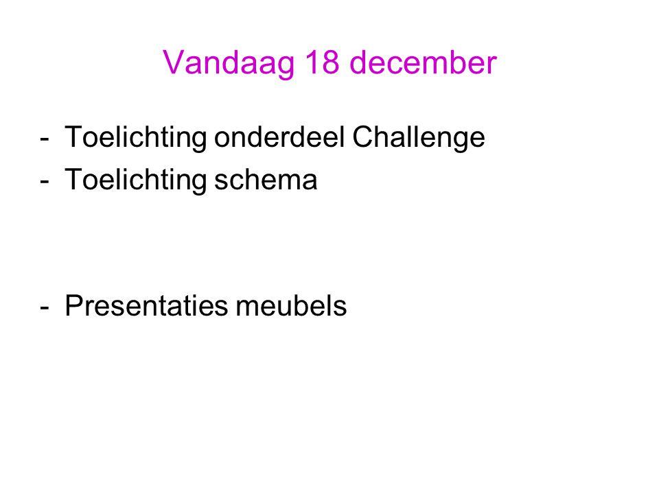 Vandaag 18 december -Toelichting onderdeel Challenge -Toelichting schema -Presentaties meubels