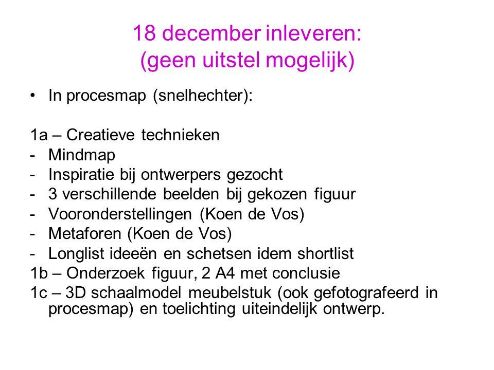18 december inleveren: (geen uitstel mogelijk) In procesmap (snelhechter): 1a – Creatieve technieken -Mindmap -Inspiratie bij ontwerpers gezocht -3 verschillende beelden bij gekozen figuur -Vooronderstellingen (Koen de Vos) -Metaforen (Koen de Vos) -Longlist ideeën en schetsen idem shortlist 1b – Onderzoek figuur, 2 A4 met conclusie 1c – 3D schaalmodel meubelstuk (ook gefotografeerd in procesmap) en toelichting uiteindelijk ontwerp.