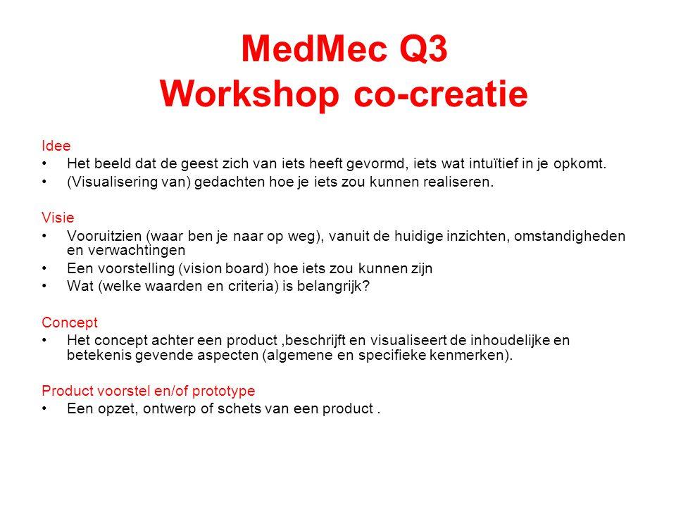 MedMec Q3 Workshop co-creatie Idee Het beeld dat de geest zich van iets heeft gevormd, iets wat intuïtief in je opkomt. (Visualisering van) gedachten