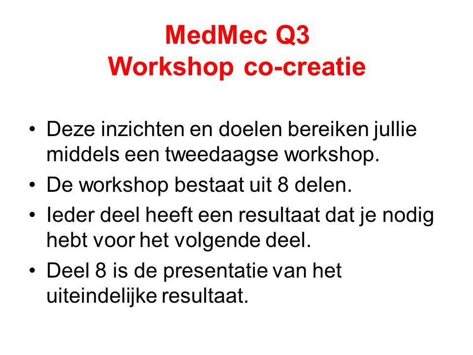 MedMec Q3 Workshop co-creatie Deze inzichten en doelen bereiken jullie middels een tweedaagse workshop. De workshop bestaat uit 8 delen. Ieder deel he