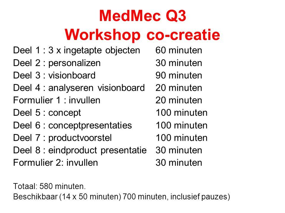 MedMec Q3 Workshop co-creatie Deel 1 : 3 x ingetapte objecten 60 minuten Deel 2 : personalizen30 minuten Deel 3 : visionboard 90 minuten Deel 4 : anal