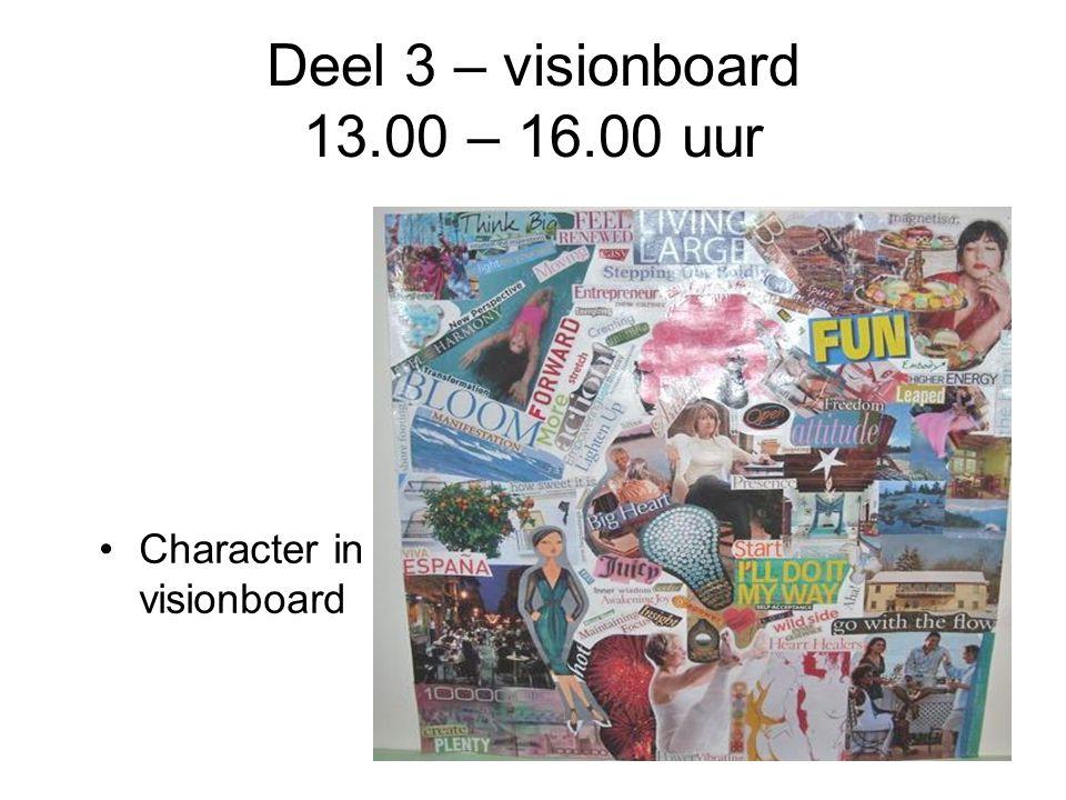 Deel 3 – visionboard 13.00 – 16.00 uur Character in visionboard