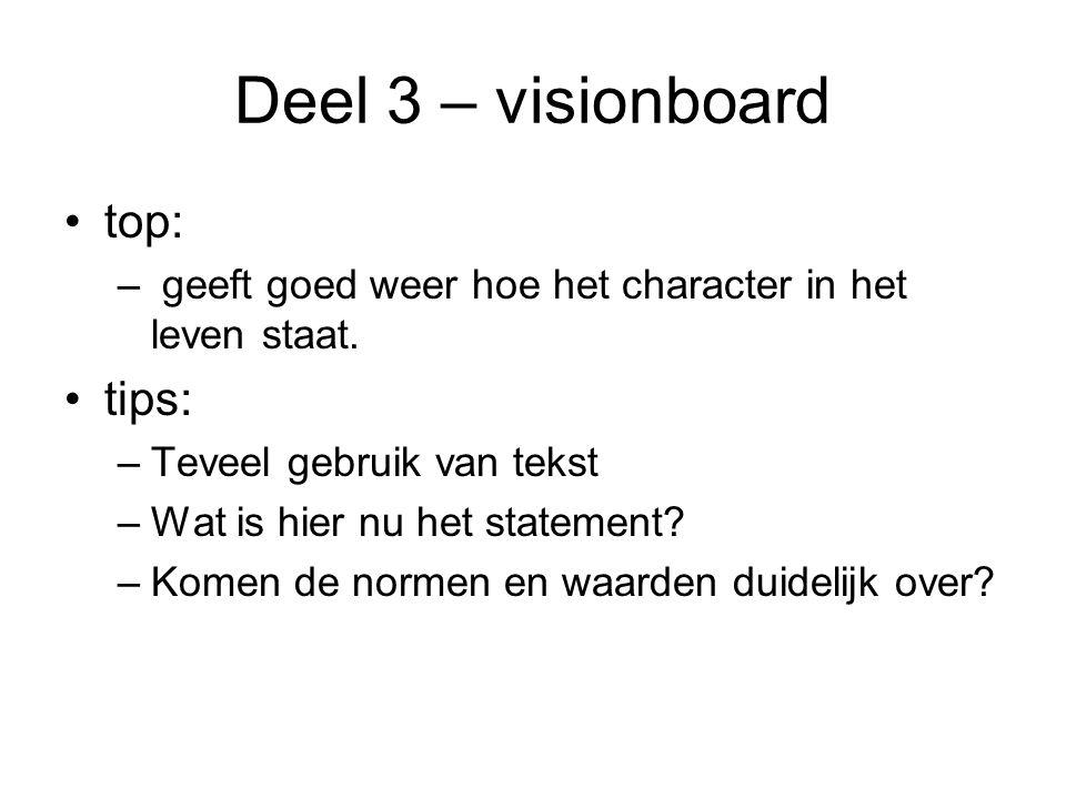 Deel 3 – visionboard top: – geeft goed weer hoe het character in het leven staat.