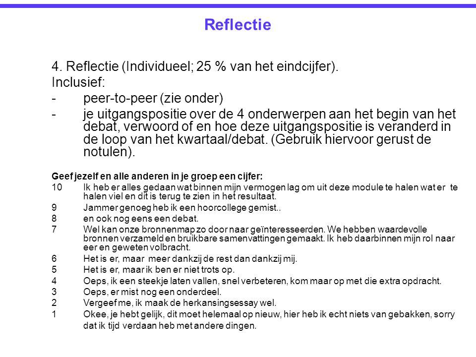 Reflectie 4. Reflectie (Individueel; 25 % van het eindcijfer).